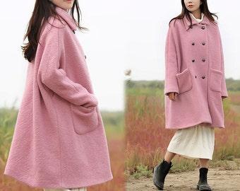 450-Women's Loop-Yarns Wool Oversized Coat, Double Breasted Wool Trapeze Coat, Simplicity, Cape Coat, Poncho Coat, Pink A-line Coat.