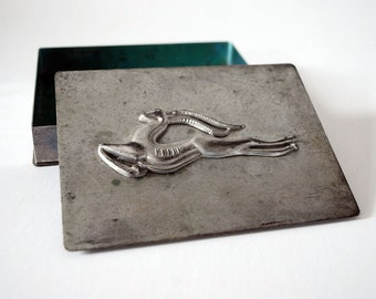 Art Deco Cigarette Box, Leaping Gazelle Deer, Silver Tone Metal Jewelry Trinket Box, Vintage Container, Vanity Boudoir Hollywood Regency