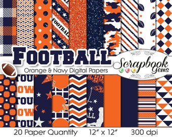 "Football Digital Papers Navy Blue & Orange, 20 Pieces, 12"" x 12"", High Quality JPEG files, Instant Download Commercial Use Sports Glitter"