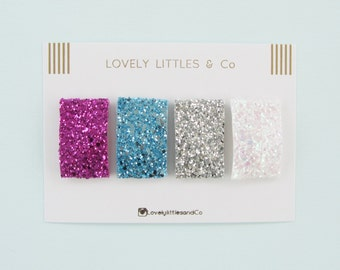 Colour Block Hair Clip set Girl/baby, 4 Large snap glitter clips. Pink, white, blue and pink