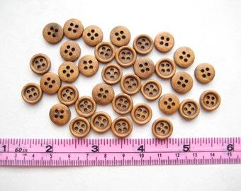 25 pcs of 1 cm Brown Wood Button - 4 Holes Round simple walnut oak mini tiny small natural Wood Sew knit crochet craft diy doll stuff toy