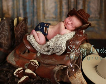 Country Cowboy Hat Set- MADE to ORDER- Photo prop, costume, Newborn photos