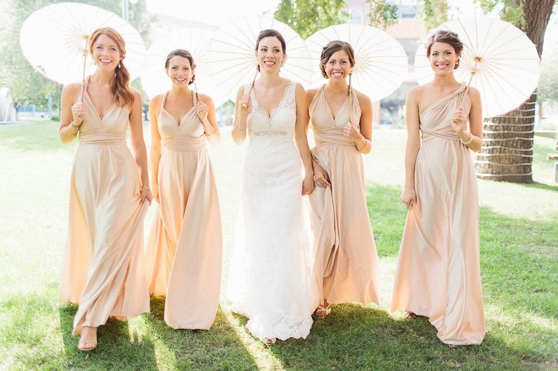 The ONE Dress multi wrap infinity wear LONG convertible bridesmaids dress Champagne Natural Pale Gold