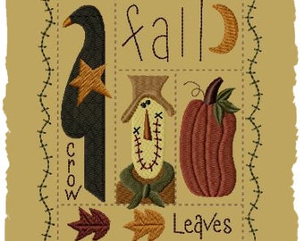 Primitive Machine Embroidery Design-Fall Sampler--Version 1--(5x7)-INSTANT DOWNLOAD