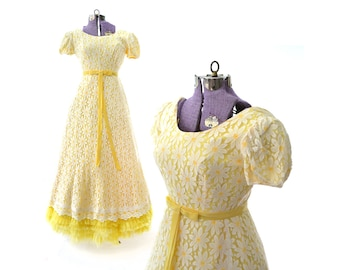 Yellow Prom Dress Hippie Prom Dress Formal Dress party Dress Daisy 1960s prom dress 60s prom dress Boho Prom Dress,Vintage Prom Dress