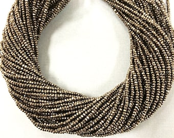 "2.4 mm Crystal Rondells Strand- Gunmetal Pyrite Color, Extra Long 200 Beads 16 "" Strand Approx. Gunmetal Crystal Spacer Beads- DC100-GM"