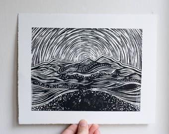 Eildon Hills Linocut Print
