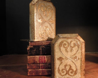 Fabulous Vintage Italian Florentine Bookends / Gold Gilt / Mid Century Bookends