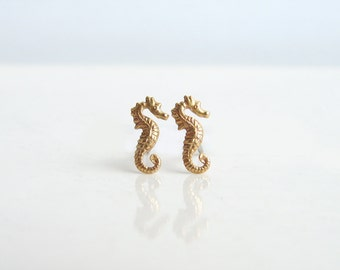 Teeny Tiny Seahorse Earrings. Brass Seahorse Stud Earrings. Nautical Jewelry. Bridesmaid Gift. Simple Modern Jewelry