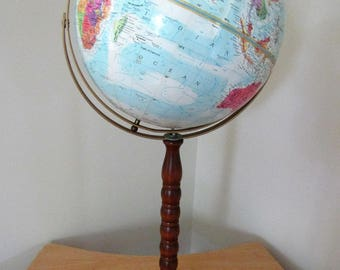 "Globe Replogle World Nation 12"" Diameter-LeRoy M Tolman Cartographer"