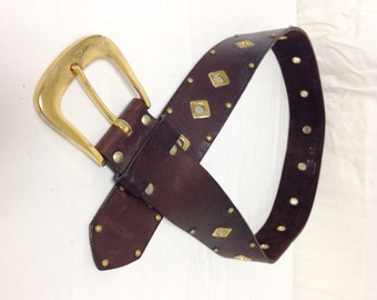 """Brown Leather Belt ,Copper Buckle, Studded,belt,medium,34"""""""
