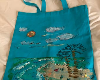Hand-painted beach scene on blue catch-all canvas tote bag