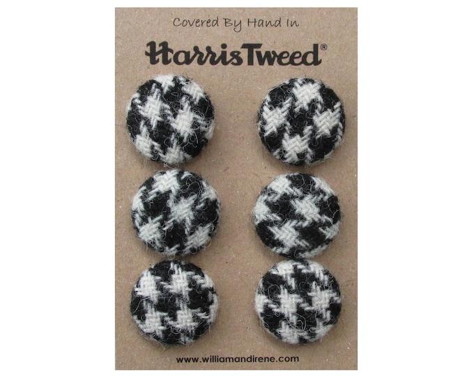 Harris Tweed Pure Wool Black Houndstooth Handmade Covered Set of 6 Buttons 24mm Diameter