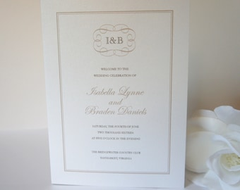 Wedding Programs, Elegant Wedding Program, Traditional Wedding Program, Monogram Wedding program - DEPOSIT