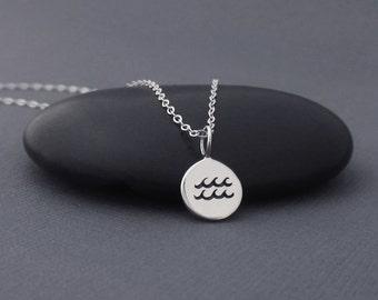 Aquarius Necklace Sterling Silver Aquarius Zodiac Charm Pendant, Zodiac Jewelry, Astrological Jewelry