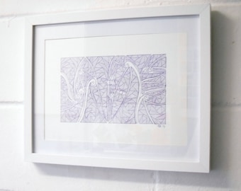 Purple Abstract Doodle Art, Abstract Ink Drawing.