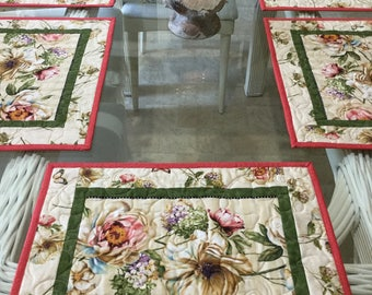 Quilted Placemats, Floral Placemats, Hand made Placemats, Sold in Sets of 4, Spring Table settings, Table Placemats, Botanical Placemats,