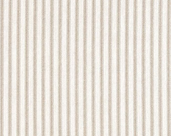 Berlin Sand, Magnolia Home Fashions - Ticking Stripe Cotton Upholstery Fabric By The Yard