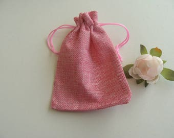 Gift jewelry box small burlap bag pink 13 * 9.5 cm