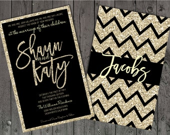 Black and Champagne Wedding Invitations, Black and Silver Wedding Invitations, Black and Gold Invitations, Glitter Wedding Invitations