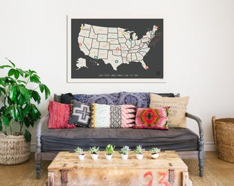 USA Travel Map Wall Art Print, Personalized Travel Map, 24x18, Kid's USA Map, Gender Neutral Nursery, Customized, United States of America