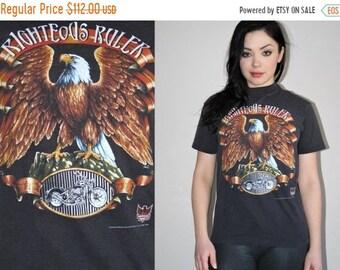 On SALE 60% Off - 1993 Vintage Harley Davidson Righteous Ruler Eagle 3D Emblem 50/50 Cotton Poly Biker T Shirt - Vintage Harley Tees -  Harl