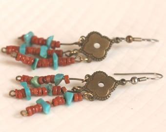 Vintage Turquoise Dangle Pierced Earrings