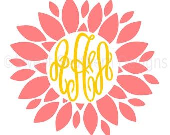 Dahlia monogram flower SVG DXF PDF instant download design for cricut or silhouette
