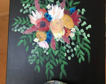 Custom Bridal Bouquet, acrylic painting, Made to Order Abstract Bouquet, Floral Wall Art, Bridal Gift, Wedding Keepsake, Flower Painting