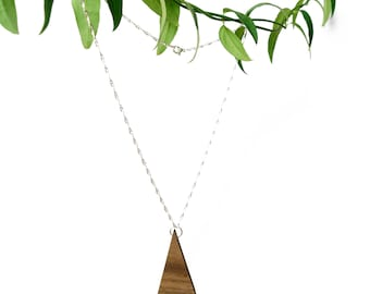 Triangle Walnut Necklace | Handmade Wood Jewellery | Unique Gift Accessories