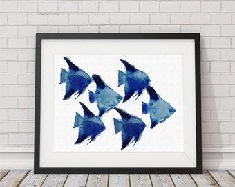 Watercolor School of Fish  Print 8x10 or 11x14 Coastal Wall Art