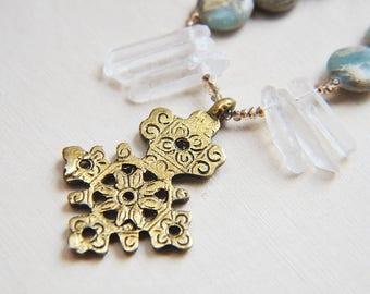 Cross Necklace, Crystal Necklace, Quartz Necklace, Jasper Necklace, Talisman Necklace, Boho Chic Necklace, Long Necklace, Bohemian Necklace