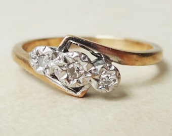 Art Deco Diamond Twist Over Trilogy Ring, Vintage 9k Gold, Platinum and Diamond Engagement Ring, Approx Size 7.25