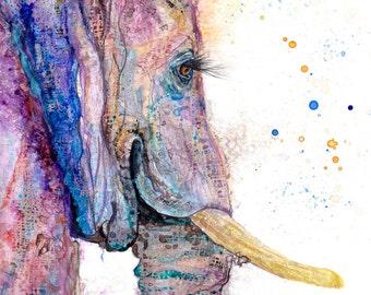 Elephant nursery art print: elephant art baby nursery decor elephant lover art elephant gift elephant decor pantone ultra violet elephant