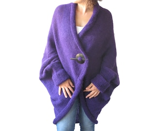 NEW! Plus Size Over Size Purple Wool Overcoat - Poncho - Cardigan