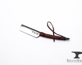 Japanese Straight Razor kit with Strop/ Featuring Shave Ready ShaveSmith Kamisori Straight Razor With A Gentle Curved Handle