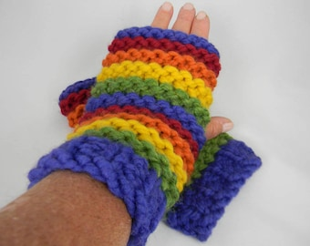Wrist Warmers, Rainbow Wrist Warmers, Fingerless Gloves, Fingerless Mittens, Texting Gloves, Texting Mittens, Hand Knit Fingerless Gloves