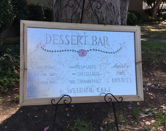 Metal and wood sign,  custom lettered for weddings