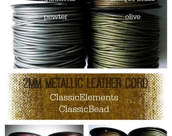 2mm Metallic Leather Cord, Round Leather Cord, Metallic leather , Leather Cord, 2.0mm leather cord, 2mm Leather Cord