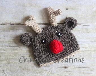 Rudolph the Red Nose Reindeer Crochet Hat Newborn Toddler Reindeer Crochet Hat Newborn Baby Christmas Reindeer Hat