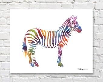 Zebra Art Print - Zoo Animal Watercolor - Abstract Watercolor Painting - Wall Decor