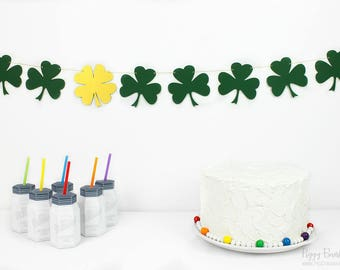 Shamrock Garland Kit : U-String Forest Bunting | St. Patrick's Day Party Decoration | Four Leaf Clover | Lucky Banner | Irish Photo Prop