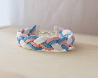 Handmade braided trans pride bracelet, transgender pride, lgbt pride, lgbt gift, gift for them, gift for her, gift for him