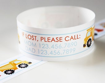 Custom Vinyl Construction ID Bracelets - Personalized ID Bands - #Kids #Travel #Safety #Medical