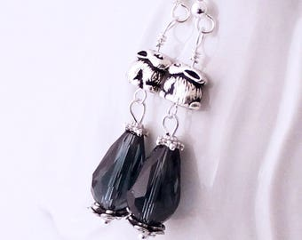 Midnight Blue Bunny Earrings -  Antique Silver Bunny Beads, Navy Blue Crystal Drops, Rabbit Jewelry, Deep Blue Earrings, Silver Earwires