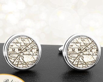 Map Cufflinks Sumpter SC Cuff Links State of South Carolina for Groomsmen Wedding Party Fathers Dads Men