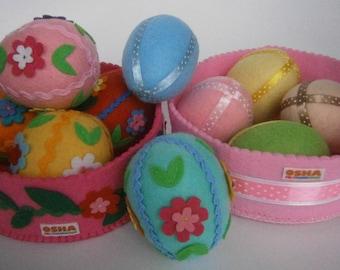 Easter table decoration Felt eggs Tree ornaments Easter decorations Easter eggs Basket stuffers Felt Ornaments Easter decor set Easter gift