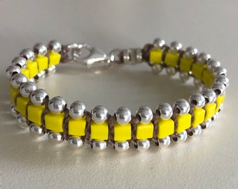 Silver beads bracelet, made of 925 silver beads and japanese yellow beads. handmade gift women sister birthday
