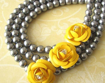 Statement Necklace Beaded Necklace Flower Necklace Multi Strand Necklace Silver Necklace Yellow Necklace
