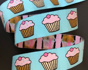 Renaissance Ribbons Cupcakes woven jacquard embroidered ribbon trim 22mm 7/8 inch wide free domestic shipping
